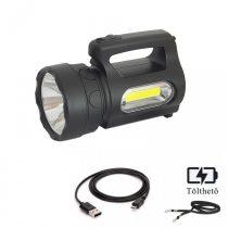 Ledes Beépített Akkus Kereső Lámpa Q5 és COB Led, Oldalvilágítással és Vállpánttal
