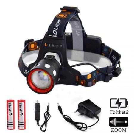 Ledes Cserélhető Akkus Fejlámpa Zoom Vészfénnyel Extra Erős T6 és SMD LED Csepp és Porálló